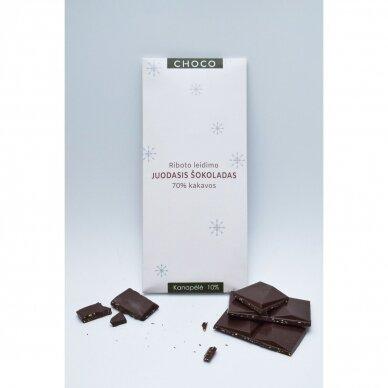 Juodasis šokoladas su kanapėmis, 80g